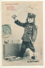 French old postcard 1905 - little boy with army uniform and toys