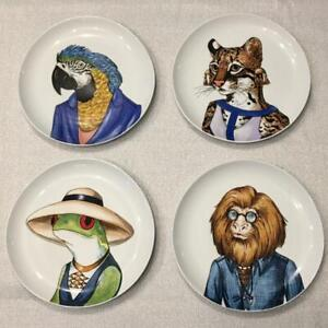 New West Elm Rachel Kozlowski Dapper Animal Plate Tamarin Ocelot Tree Frog Macaw