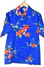 Vintage 70's MADE IN HAWAII Hawaiian shirt polyester Blue Tropical sz L
