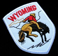 WYOMING RIDER HORSE RODEO White Embroidered Iron on Patch Free Shipping
