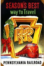 PENNSYLVANIA RAILROAD Season's Best Way To Travel Metal Sign PRR 5806 Locomotive