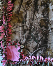 Handmade Fleece Tie-Blanket Realtree Camouflage Pink 60X90 Xl length - 2 layers