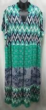 Blair Dress Plus 2X 18 20 Green Blue Chevron Shift V-Neck Short Sleeve 2515