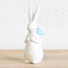 18cm White & Blue Porcelain Easter Bunny Rabbit Eggs Ornament Figure Decoration