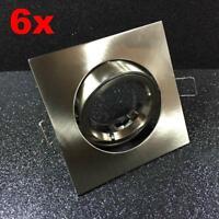 Einbaustrahler Edelstahl 6 x Einbauspot K50 Halogen 230V quadrat Spot schwenkbar