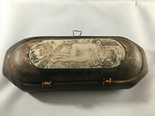 Charming Japanese wooden box with bone inlay carved with a couple making love.