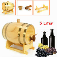 5L Wood Timber Wine Barrel Dispenser for Beer Tequila Whiskey Rum Port & Stand