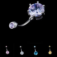 Unique Surgical Steel Crystal Navel Belly Ring Button Bar Body Piercing Jewelry