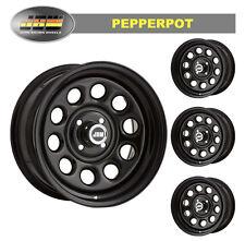 """8.0x15"""" Pepperpot 4x100 GLOSS BLACK Steel Wheels (x4)"""