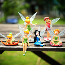 6pcs Tinker Bell Fairies Princess Figures Cake Toppers Dolls PVC Kids Party Toy