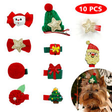 10pcs Christmas Pet Dog Hair Bows Clips Xmas Grooming Accessory Shih Tzu Maltese