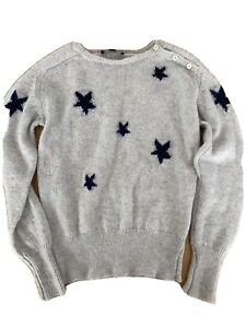 Zadig And Voltaire Boys Wool Grey Star Jumper, Sz 10