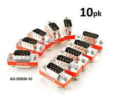 10-PACK DB9 Mini NULL MODEM Male/Male Data Transfer Adapter/Gender Changer