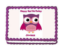 Owl Premium Frosting Sheet Cake Topper FREE Personalization
