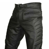 Men's CE Armoured Motorcycle Biker Black Leather Trousers Motorbike Jeans Pants