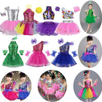 Girls Kids Ballet Tutu Dress Sequined Modern Jazz Dance Outfit Costume Dancewear