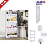 4-Tiers Mobile Shelf Kitchen Storage Rack Bathroom Stand Organizer Laundry Cart