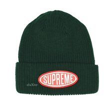 NWT Supreme NY Men's Dark Forest Green Red Oval Logo Patch Beanie FW18 AUTHENTIC