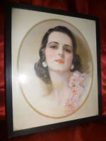 Pretty Art Deco / Nouveau FRAMED ART PRINT Beautiful woman with lustrous hair