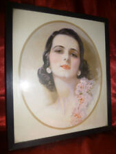 Pretty Art Deco / Nouveau PICTURE PRINT Sultry dark haired woman with red lips