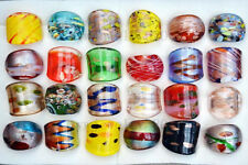 Wholesale Lots 24PCS Charms Summer Style Murano Glass Lampwork Rings FREE