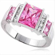925 Silver Rectangle Pink CZ & Clear CZ Ring Size 10