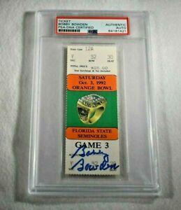 1991 BOBBY BOWDEN Signed FLORIDA STATE vs MIAMI CANES Orange Bowl Ticket-PSA