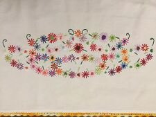 Vintage Flour Sack Table Runner Embroidered Colorful Flowers With Crochet Edges