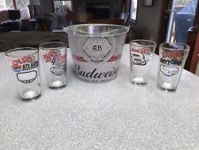 Budweiser Bucket & 4 Budweiser Nascar Glasses