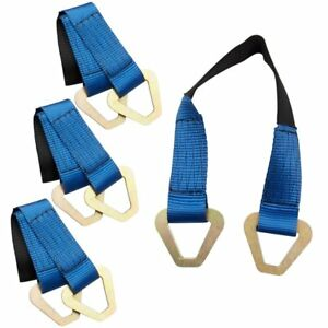 "4Pcs 24"" Axle Straps HD Blue Tie Down f Race Car Hauler Tow Truck 4x4 Off Road"