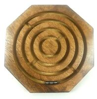 Wooden Game Toy Labyrinth Ball in Maze Puzzle Octagon Three steel balls