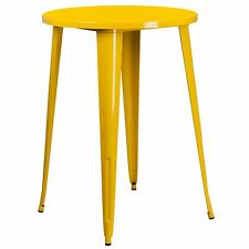 """30"""" Round Tolix Style Yellow Indoor-Outdoor Metal Bar Height Table"""