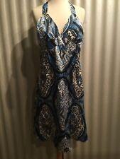 Oleg Cassini 100% Silk Halter Blue, White Paisley Women's  Dress Size 8 $128