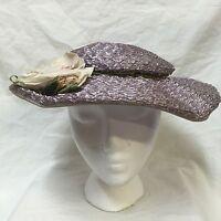 Vintage 50s Saucer Hat Lilac Purple Spring Garden Sun Woven Wide Brim Big Flower