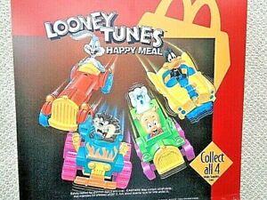 McDonald's 1992 Warner Bros. Looney Tunes Quack-Up Cars MIP Set of 4 W/ Under 3