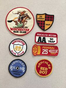 Lot of 7 Vintage Federal Remington 25 50 Straight Trap shooting patches Hercules