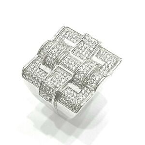 925 Sterling Silver White Gold Finish Sparkly Shiny Bling Big Men Pinky Ring
