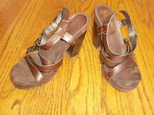 Womens MIA Brown Leather Heels Open Toe Shoes Size 7 M BRAZIL!!