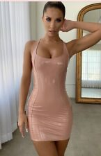 Size 10 Oh Polly Nude Tan Pvc Vinyl Sexy Party Night Out Bodycon Mini Dress