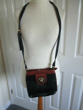 Jane Shilton black & tan cross body shoulder bag with adjustable strap