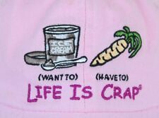Pink Life is Crap Want To Have To Ice Cream Carrot Baseball Cap Hat Adjustable