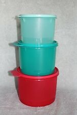 Tupperware STACKING CANISTER SET ~ Green / Red ~ Set of 3 ~ 5, 7, 10 Cup~ NEW!