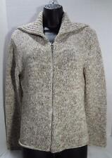ONE GIRL WHO womens beige tan knit zip front sweater jacket cardigan Med