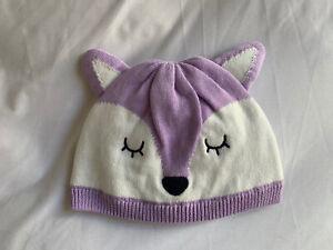 New GYMBOREE white purple Deer Baby Girl Beanie hat