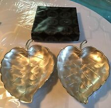 Vintage Set of  Pearlized Silverware Leaf Dishes by Moben. Made in Japan