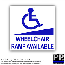 1x Wheelchair Ramp Available Sticker-Disability-External Car,Vehicle,Notice,Sign