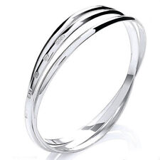 "925 Sterling Silver 4mm Russian Style Bangle Heavy 30g X Large Womens 8.5"" UK HM"