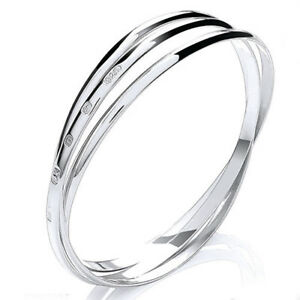 """925 Sterling Silver 4mm Russian Style X Large Bangle Heavy 33g Womens 8.5"""" UK HM"""