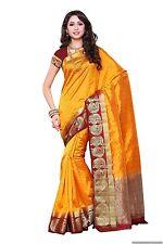 Indian Ethnic Tussar Silk Yellow Zari Woven Saree Sari D.No SAR1605