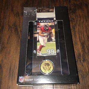 Highland Mint NFL Houston Texans J.J. Watt Ticket & Bronze Coin Acrylic Desk Top